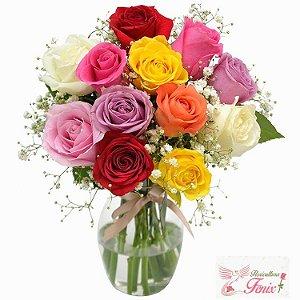 Elegância de Rosas Coloridas