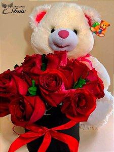 Box de Rosas Vermelhas com Mega Pelúcia