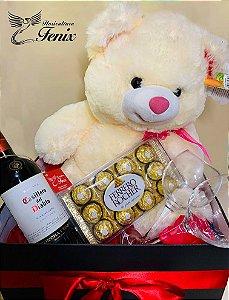 Kit Urso, Vinho, Taças e Chocolates