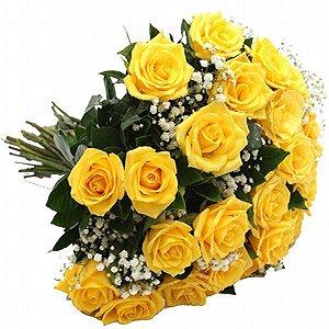 Buquê de 20 rosas amarelas com gipsofila