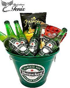 Balde Grande de Cerveja Heineken com Petiscos