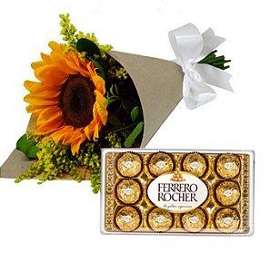 Mini Buque de Girassol e Ferrero Rocher 150g