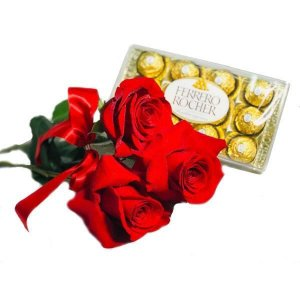 Trio de Rosas Premium Com Ferrero Rocher