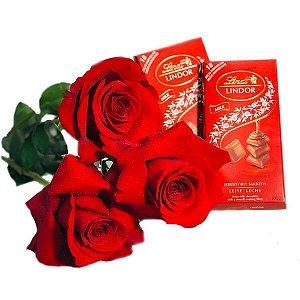 Trio de Rosas Premium Com Lindt