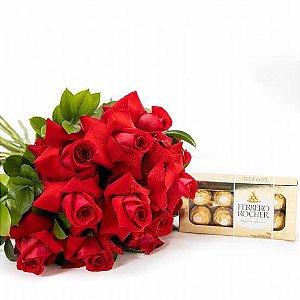 Buquê 12 Rosas Colombianas e Ferrero Rocher