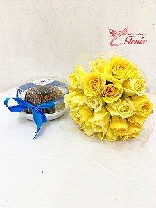 Lembrança de aniversário com flores amarelas