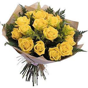 Buquê tradicional de 18 rosas amarelas