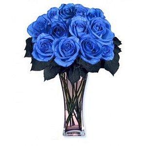 Luxuoso Arranjo de 24  Rosas Azul