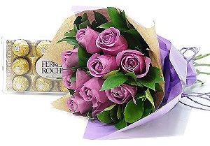 Buquê de Rosas Lilás com Ferrero Rocher