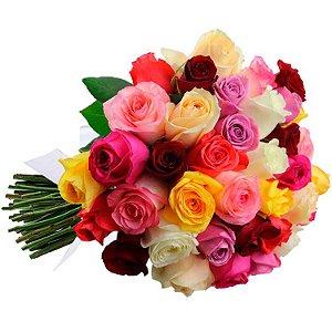Buquê de 42 Rosas Coloridas