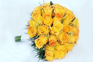 Deslumbrante Buquê de Noiva de Rosas Amarelas
