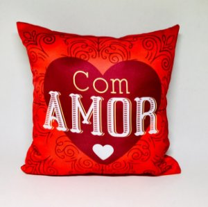 """Almofada """"Com amor"""""""