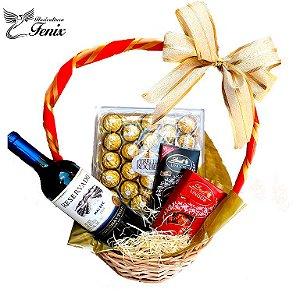 Luxuosa Cesta com Vinho Tinto e Chocolates Finos