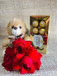 Kit Rosas Premium, Pelúcia e Ferrero Rocher