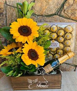 Arranjo de Girassóis luxo com Ferrero Rocher