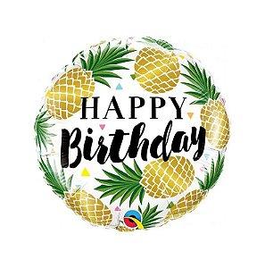 Balão metalizado Happy Birthday abacaxi G