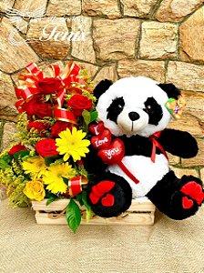 Cesta com arranjo e pelúcia  Panda