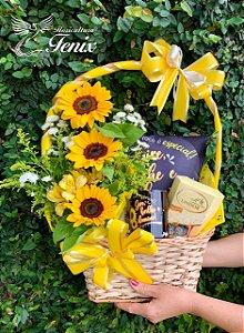 Cesta Flores do Sol com Lindt