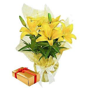 Lirio Amarelo Plantado com caixa de Chocolate