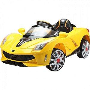 Carro Elétrico Mini Ferrari Amarela 12 V Com Controle Remoto