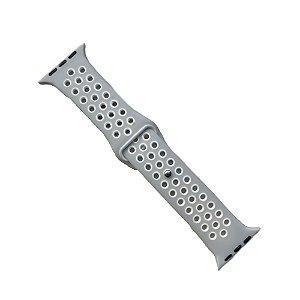 Pulseira Apple Watch Silicone Esportiva 42mm - Cinza com Branco