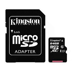 Cartão de Memória Micro SD Kingston SDCS de 64GB MSDXC-I - Preto