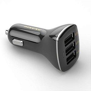 Carregador Veicular USB Pineng PN-523 3 Saídas USB – Preto
