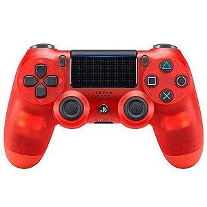 Controle Sem Fio Sony DualShock 4 CUH-ZCT2G para PlayStation 4 - Vermelho/Transparente