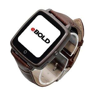 Relógio SmartWatch eBOLD SW-100 com Bluetooth Pulseira de Couro - Marrom