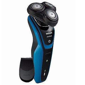 Barbeador Philips AquaTouch S5050/04 com 3 Cabeças/Recarregável Bivolt - Preto/Azul