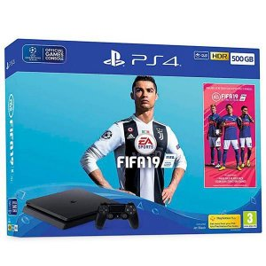 Console Playstation 4 de 500 GB Sony CUH-2215A + 1 Jogo Fifa 19 - Jetsblack
