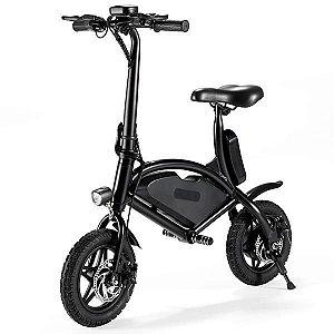 """Bicicleta Elétrica 001 com Rodas de 12"""" 25 km/h para até 120 kg - Preta"""