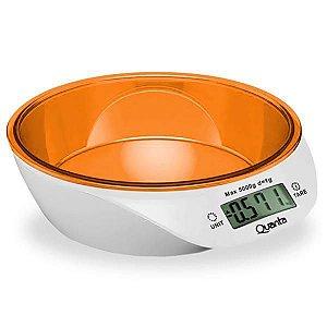 Balança Digital para Cozinha Quanta QTBLC9000 para até 5 kg - Branco/Laranja