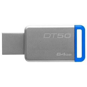 Pendrive Kingston DataTraveler 50 64GB USB 3.1/3.0/2.0 - Prata/Azul