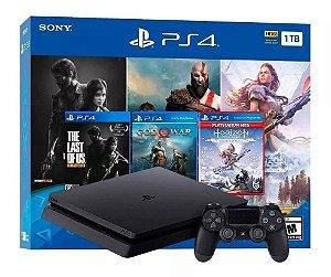 Console PlayStation 4 Slim de 1TB + 3 Jogos - Jet Black