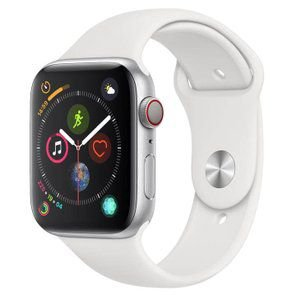 Apple Watch Series 4 Cellular + GPS, 40 mm, Aço Inoxidável Prata, Pulseira Esportiva Branca