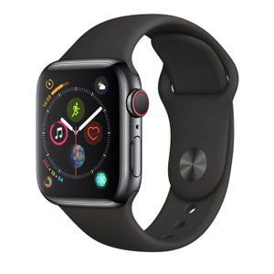 Apple Watch Series 4 Cellular + GPS, 40 mm, Aço Inoxidável Cinza Espacial, Pulseira Esportiva Preta