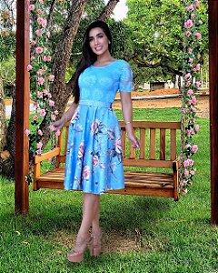 Vestido Casamento Civil Manga Curta Azul Flores