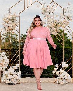 Vestido Casamento Civil Plus Size Rose Manga Longa