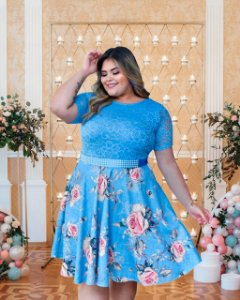 Vestido Plus Size Casamento Civil Azul Flores Manga Curta