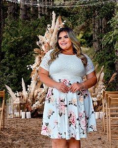 Vestido Plus Size Casamento Civil Branco Floral Manga Curta