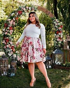 Vestido Casamento Civil Plus Size Rosa Flores Manga Longa