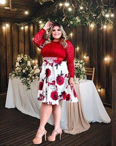Vestido Casamento Civil Plus Size Marsala Manga Longa