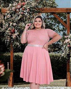 Vestido Casamento Civil Plus Size Rose Manga Curta