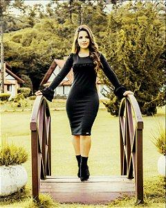 Vestido Moda Evangélica Tubinho Malha em Jacquard