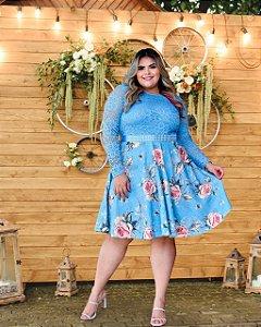 Vestido Plus Size Casamento Civil Azul Flores Manga Longa