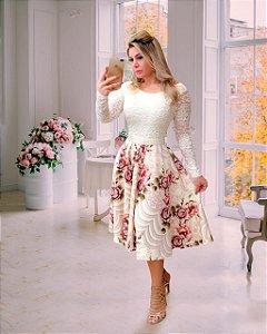 Vestido Casamento Civil Godê Floral Manga Longa