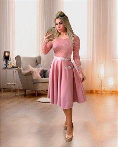 Vestido Casamento Civil Godê Rose Manga Longa