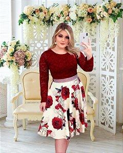 Vestido Casamento Civil Marsala Bordô Floral