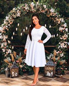 Vestido Casamento Civil Godê Branco Manga Longa